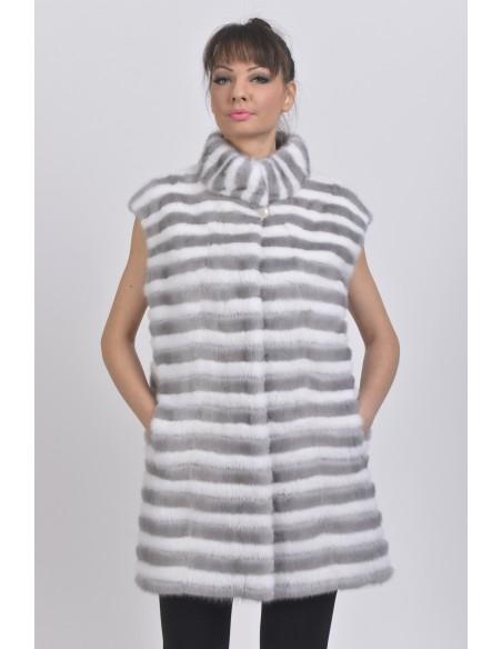 Blue-grey and white mink vest front side