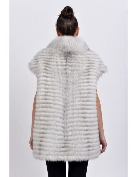 Off-white fox fur vest back side