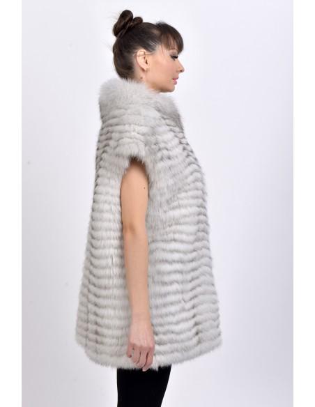 Off-white fox fur vest right side