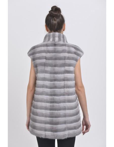 Blue-grey and silver-blue mink vest back side