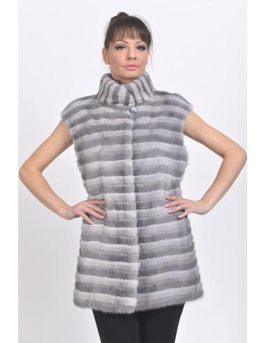 Blue-grey and silver-blue mink vest front side