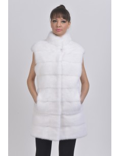 White mink vest front side