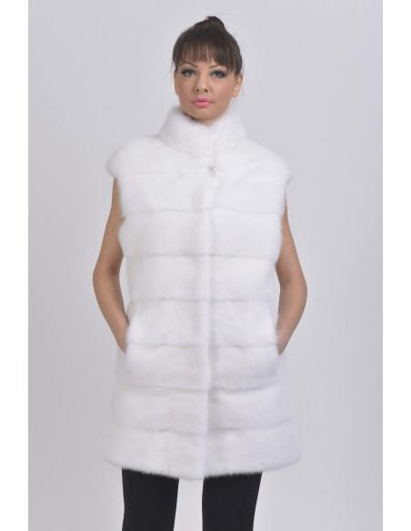 White mink vest front side