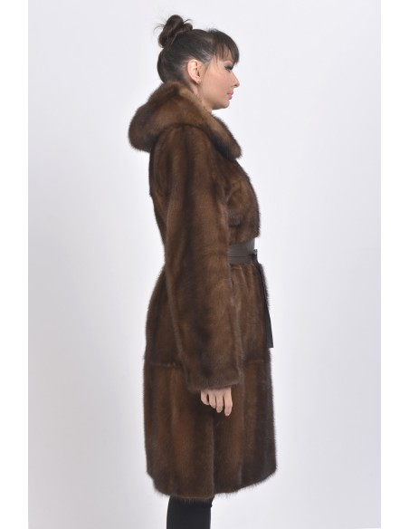 Brown mink coat with leather belt and hood right side