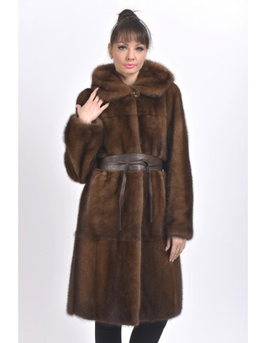Brown mink coat with leather belt and hood front side