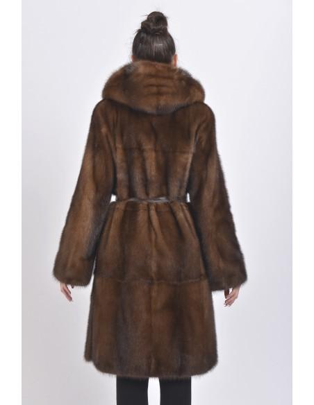 Brown mink coat with leather belt and hood back side