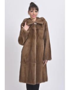Light brown mink coat with hood front side