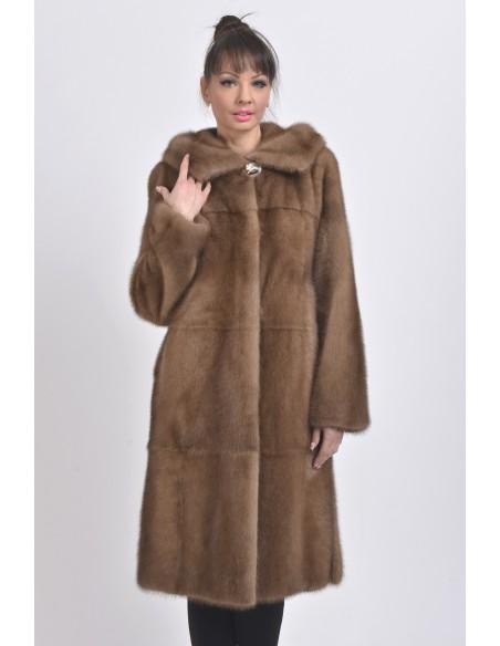 Light brown mink coat with hood front side