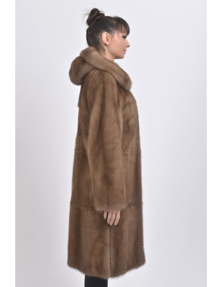 Light brown mink coat with hood right side