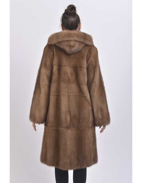 Light brown mink coat with hood back side