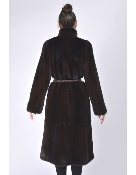 Long mahogany mink coat with leather belt back side