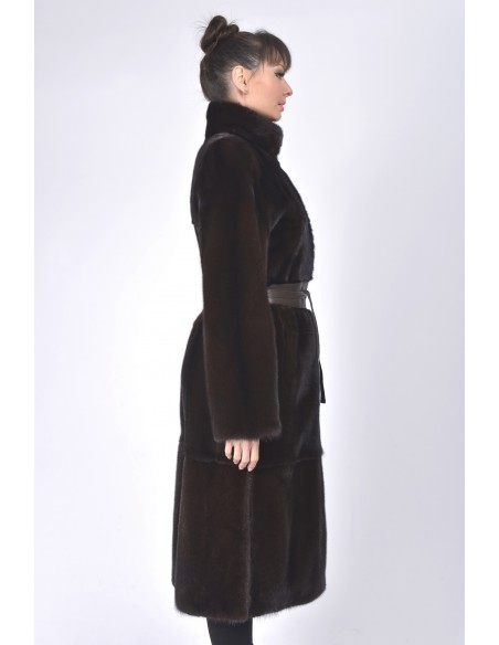 Long mahogany mink coat with leather belt right side