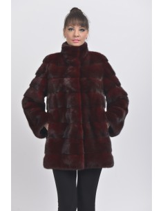 Short bordeaux mink coat front side