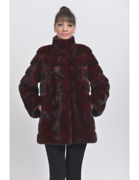 Short bordeaux mink coat front side