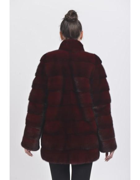 Short bordeaux mink coat back side
