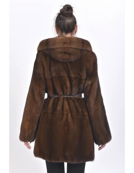 Short brown mink coat with hood back side