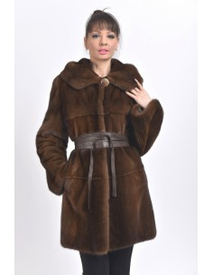 Short brown mink coat with hood front side