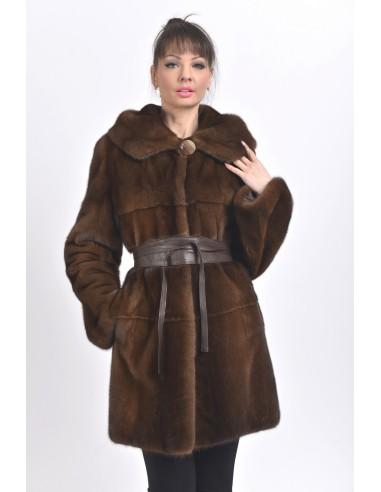 Short brown mink coat with hood front side