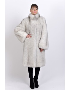 Off-white fox coat front side