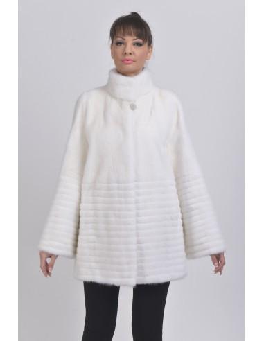 Short white mink coat front side