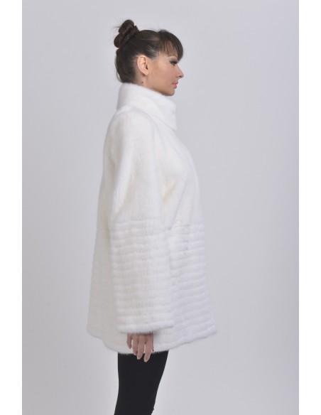 Short white mink coat right side