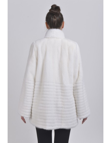 Short white mink coat back side