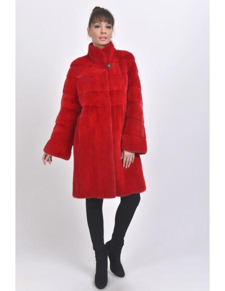 Red mink coat front side