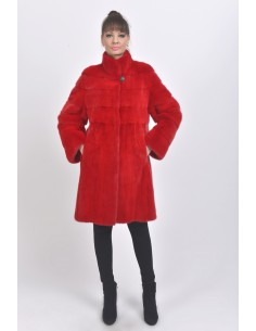 Red mink coat front side