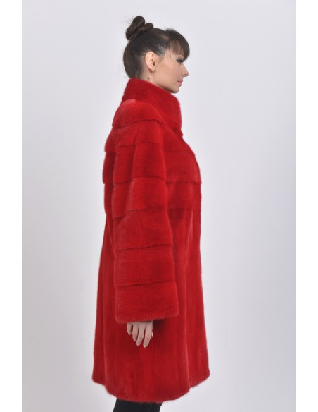 Red mink coat right side