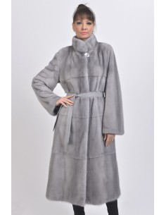 Blue-grey mink coat with leather belt front side