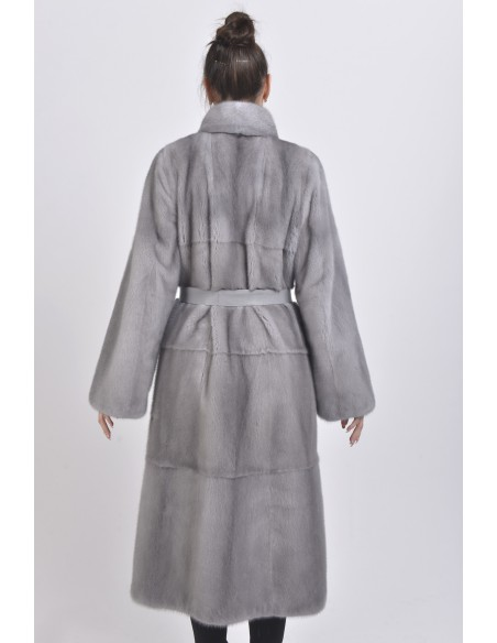 Blue-grey mink coat with leather belt back side