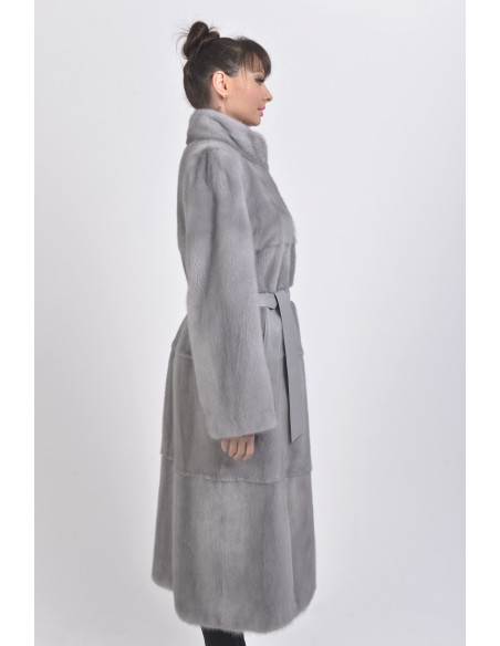 Blue-grey mink coat with leather belt right side