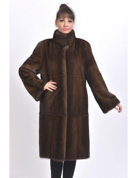 Long brown mink coat front side