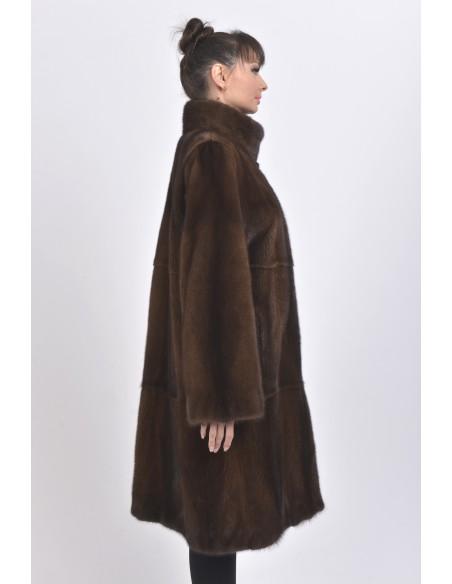 Long brown mink coat back side