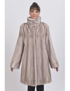 Ice grey mink coat front side