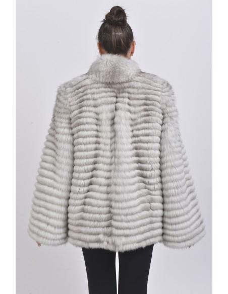 Short off white fox fur coat back side