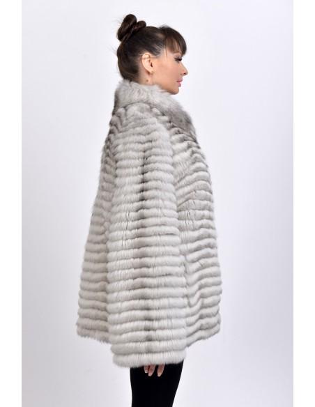 e0ed965f50fe9 Short off white fox fur coat - SainrGermain Furs