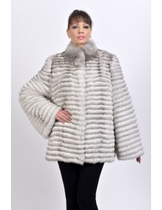 Short off white fox fur coat front side