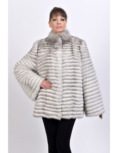 Short off white fox fur coat front side