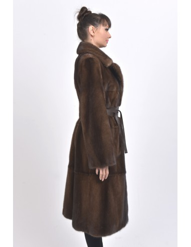 Long brown mink coat with leather belt right side