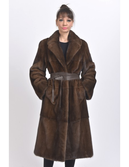 Long brown mink coat with leather belt front side