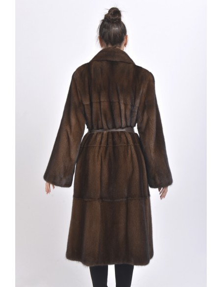 Long brown mink coat with leather belt back side