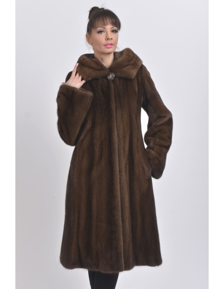 Long brown mink coat with hood front side