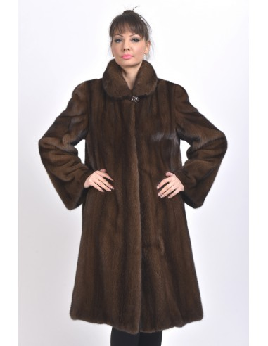 Long brown mink coat front side