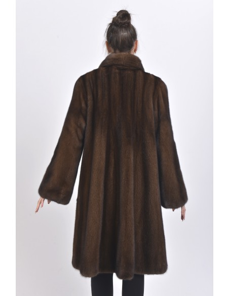 Long brown mink coat back side