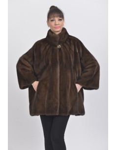Oversized short  brown mink coat front side