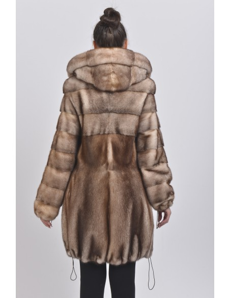 Gold white mink coat with hood back side