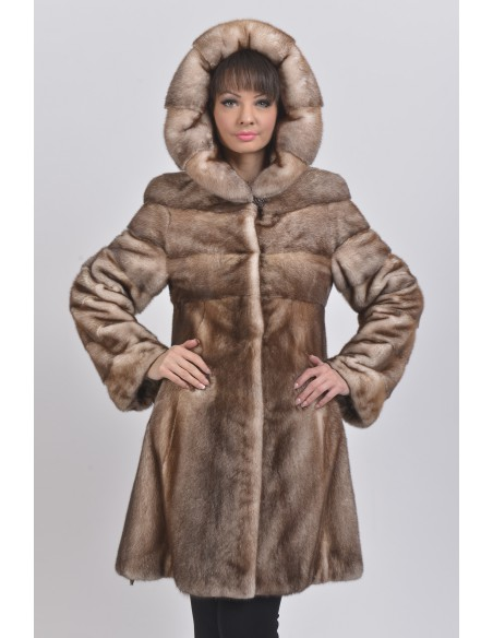 Gold white mink coat with hood front side