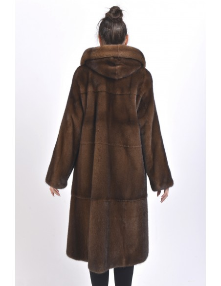 Long brown mink coat with hood back side