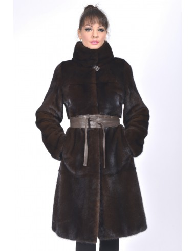 Long mahogany mink coat with leather belt front side